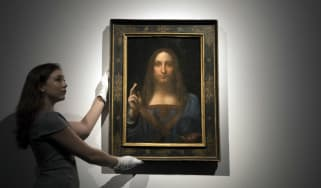 Salvator Mundi on display before auction in New York