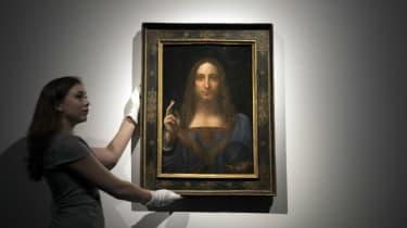 Salvator Mundi on display before auction in New York