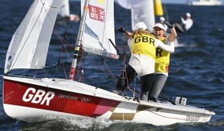 Hannah Mills and Eilidh McIntyre celebrate their gold medal