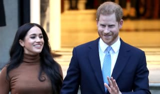 Meghan Markle and Prince Harry on a visit to Canada House, London.