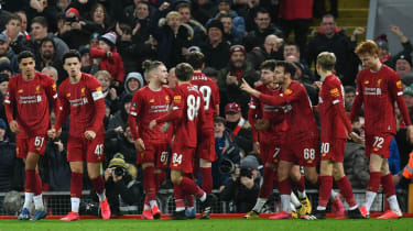 Liverpool's youngsters celebrate the winning goal against Shrewsbury Town in the FA Cup