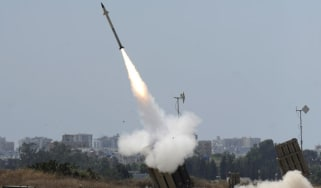 A missile is launched by an 'Iron Dome' battery in the Gaza strip