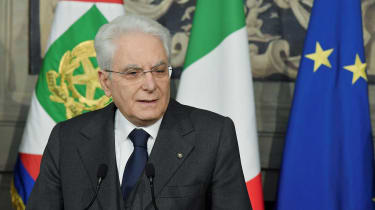Italian President Sergio Mattarella announces the end of talks to form a coalition government