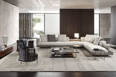 A living room in a contemporary design with long, low furniture