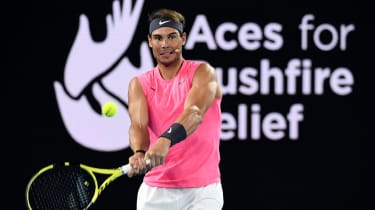 Rafa Nadal takes part in a bushfire relief fundraiser ahead of the Australian Open