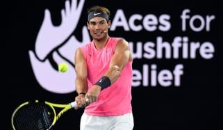 Rafa Nadal takes part in a bushfire relief fundraiser ahead of the Australian Open