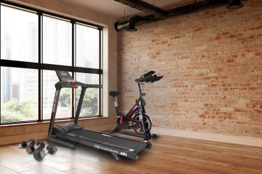JLL Fitness equipment in the corner of a room