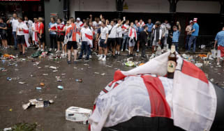 England fans gather in Leicester Square ahead of kick-off for the Euro 2020 final