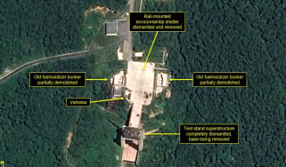 Satellite image purporting to show the partial dismantling of a North Korean rocket facility