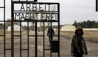 Visitors at the entrance of Sachsenhausen Nazi concentration camp