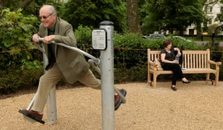 Pensioners exercise in London's first purpose built 'Senior Playground' in Hyde Park