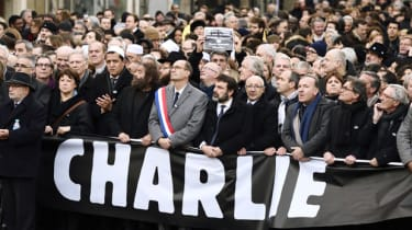 (From L) Samuel Sandler,father and grandfather of three of the victims of Islamist gunman Mohamed Merah, the Mayor of Lille and Socialist Party member Martine Aubry, Hassen Chalghoumi, Imam o