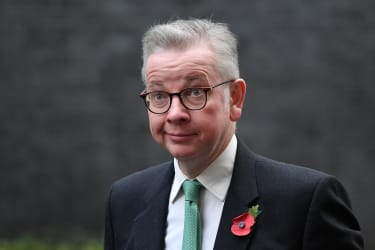 Britain's Chancellor of the Duchy of Lancaster Michael Gove arrives in Downing Street in London on November 10, 2020 to attend the weekly cabinet meeting held at the nearby Foreign, Commonwea