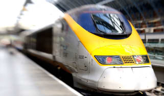 A Eurostar train at St Pancras International station