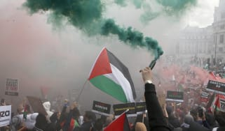 Pro-Palestine protestors at a demonstration in central London