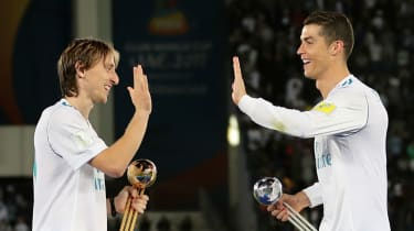 Luka Modric with his former Real Madrid teammate Cristiano Ronaldo