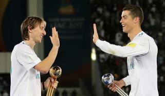 Luka Modric with his former Real Madrid teammate Cristiano Ronaldo