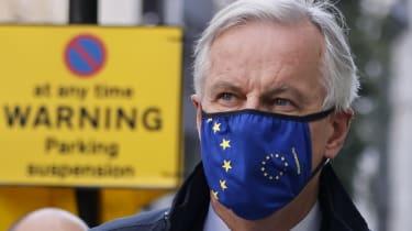 EU chief negotiator Michel Barnier wearing a face mask in London