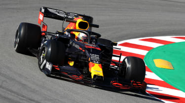 Red Bull's Max Verstappen drives the RB16 during testing in Barcelona