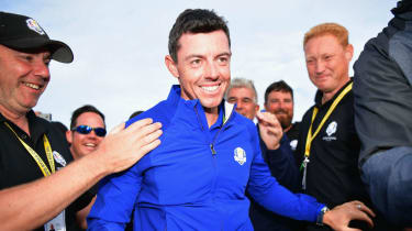 Rory McIlroy celebrates Europe's victory against the USA at the 2018 Ryder Cup