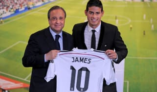 James Rodriguez is unveiled to the press by club president Florentino Perez