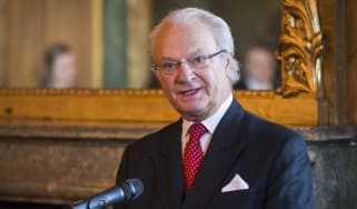 King Carl XVI Gustaf of Sweden gives a speech at the opening of the exhibition.