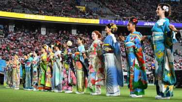 Performers in kimonos during the opening ceremony