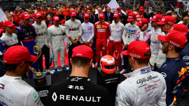 Formula 1 drivers observe a minute's silence in tribute to Niki Lauda at the 2019 Monaco GP