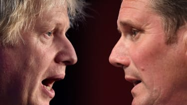 A composite image of Boris Johnson and Keir Starmer appearing at PMQs