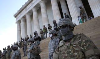Troop line the Lincoln Memorial