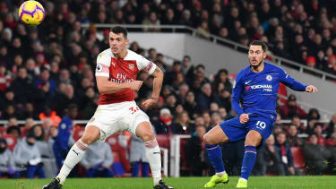 Chelsea forward Eden Hazard in action against Arsenal in the Premier League in January 2019