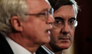 Jacob Rees-Mogg looks on as David Davis unveils Plan A+