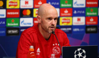 Ajax head coach Erik ten Hag speaks to the media ahead of the semi-final first leg against Tottenham