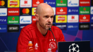 Ajax head coach Erik ten Hag speaks to the media ahead of the semi-final first leg against Tottenham