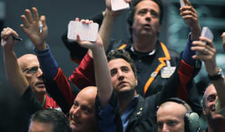 Stock market traders in Chicago