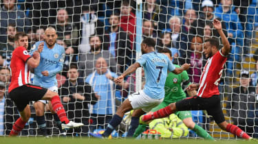 Raheem Sterling scores Manchester City's fourth goal in the 6-1 win against Southampton