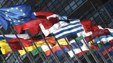 EU member flags outside the European Parliament