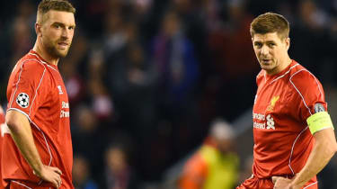 Rickie Lambert and Steven Gerrard look dejected after conceding the opening goal by FC Basel