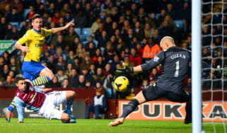 Olivier Giroud scores for Arsenal against Aston Villa