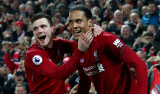 Liverpool's Andy Robertson and Virgil van Dijk celebrate a goal in the 5-0 win against Watford on 27 February