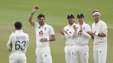 England bowler James Anderson celebrates taking his 600th Test wicket