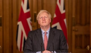 Boris Johnson addresses a press briefing on coronavirus
