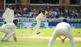 England's Jofra Archer bowls during his Test debut against Australia at Lord's