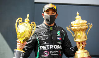 Lewis Hamilton celebrates his win at the 2020 F1 British Grand Prix at Silverstone