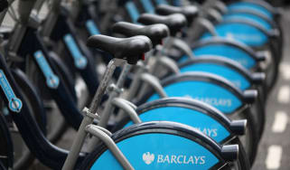 Barclays Cycle Hire bikes parked in their docking stations in London