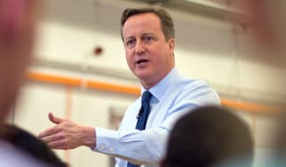 British Prime Minister David Cameron speaks to factory staff at the Siemens manufacturing plant on February 2, 2016 in Chippenham, west England. British Prime Minister David Cameron hailed to