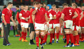 Wales player Aaron Shingler reacts after the semi-final defeat against South Africa