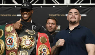 World champion Anthony Joshua and challenger Andy Ruiz Jr at the pre-fight press conference