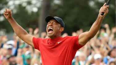Tiger Woods celebrates after winning the 2019 Masters at Augusta National Golf Club