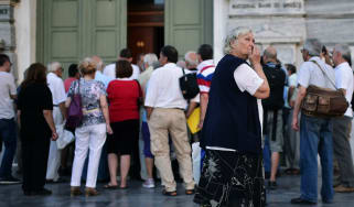 People queue for the Greek central bank at the height of the debt crisis